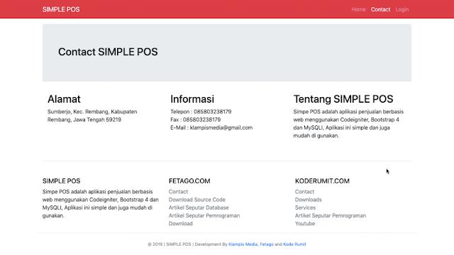Halaman kontak aplikasi pos berbasis web