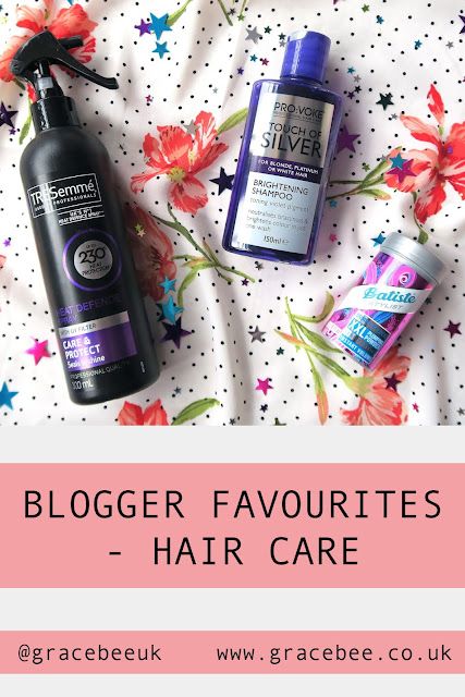 """A flatlay image of several of my favourite hair care products. Below the image text reads """"Blogger favourites - Hair Care"""""""