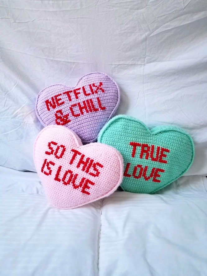 Candy Conversation Heart Pillow Free Crochet Pattern with Cross Stitch Letters