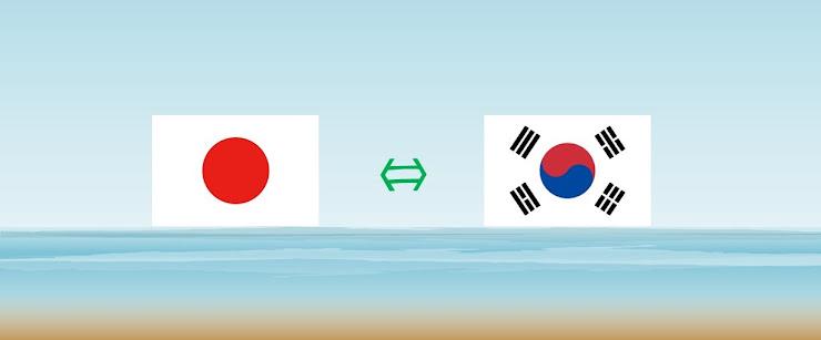 海上に浮かぶ日本⇔韓国の国旗