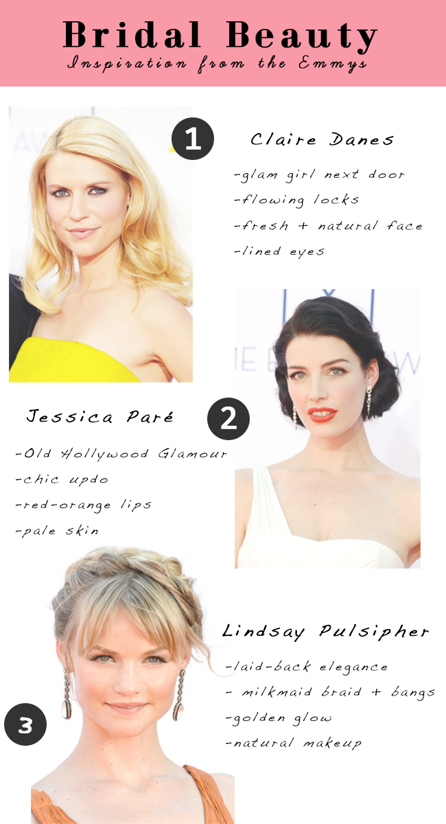 bridal beauty looks inspired by the emmys: claire danes, jessica paré, lindsay pulsipher