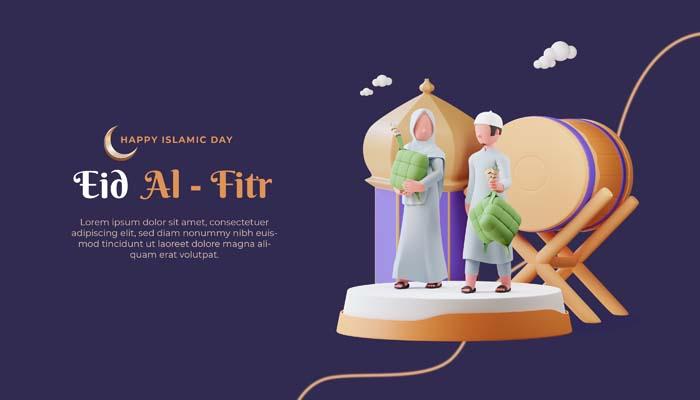 Eid Mubarak 3D Banner Template With Muslim Character