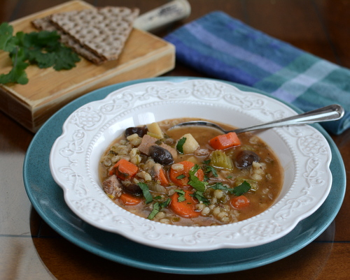 Beef Barley Soup with Mushrooms ♥ KitchenParade.com, hearty, healthy, satisfying. High Protein. Naturally Gluten Free. Weight Watchers Friendly.