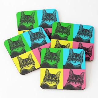 Tabby Cat Pop Art Set Of Four Coasters