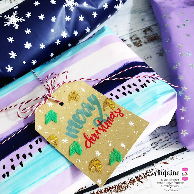 Trendy Twine: Trendy Twine Guest Designer: It's a Christmas Wrap! #trendytwine #scrappyscrappy #christmas2018 #christmas #christmasgifts #christmaswrapping #christmaspresents #christmasgifttags #twine #peppermintstick #holidaygifts #nuvoglimmerpaste #glitterificpaint #merrychristmas