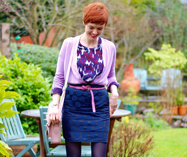 Fake Fabulous | Boden Navy mini, second female silk blouse, lilac COS cardigan, Navy gipsy tights.