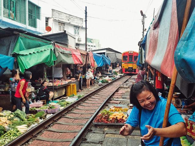 A moment from Maeklong Railway Market