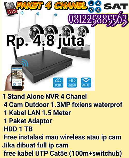 cocok-untuk-rumah-toko-kecil-paket-wireless-/-ip--cam-4-chanel