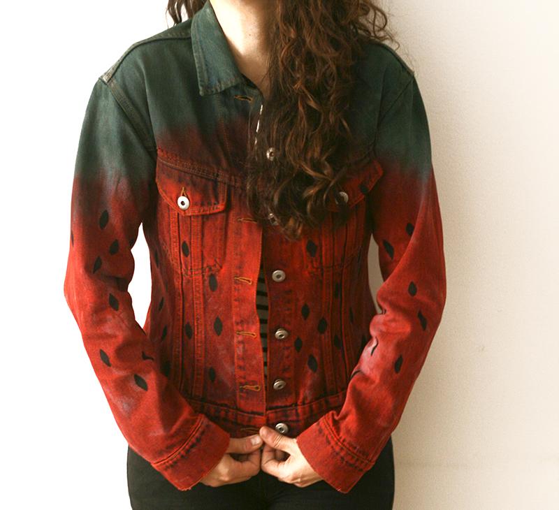 cazadora fresa, cazadora teñida fresa, dip dye jacket, strawberry dye jacket