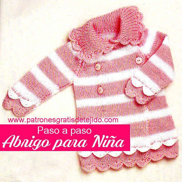 Tapado para nena tejido con dos agujas y crochet con moldes
