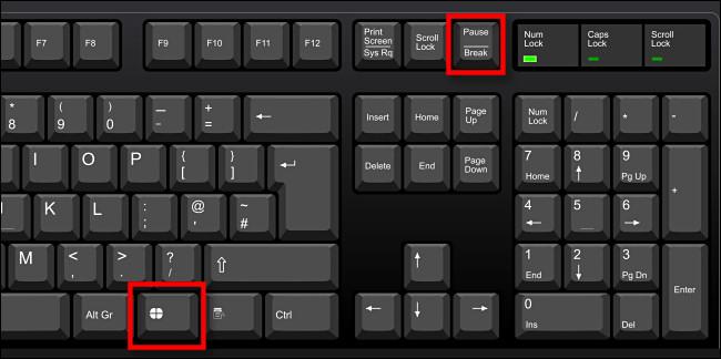 اضغط على Windows + Pause / Break لفتح نافذة System About.