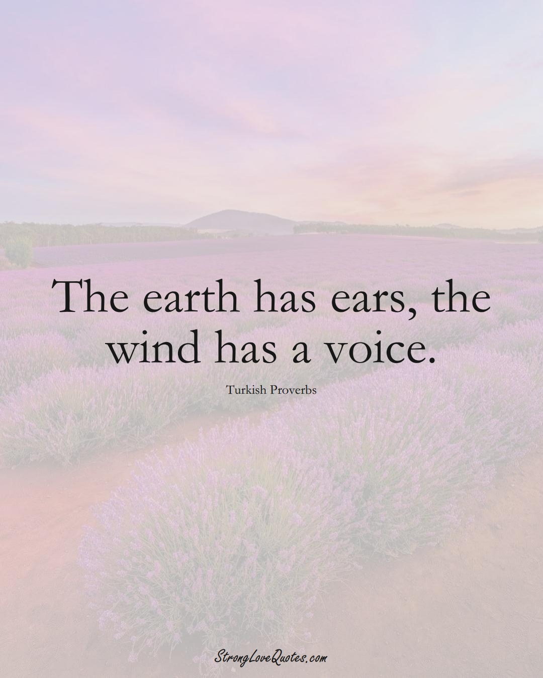 The earth has ears, the wind has a voice. (Turkish Sayings);  #MiddleEasternSayings