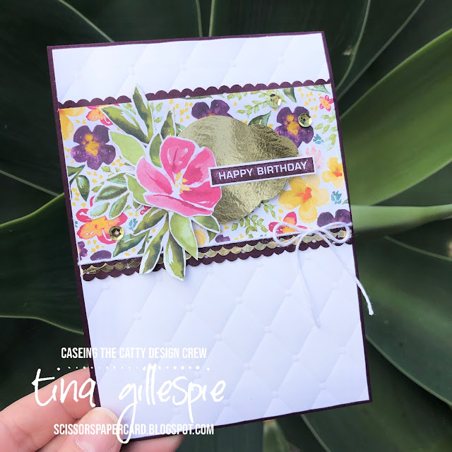 scissorspapercard, Stampin' Up!, CASEing The Catty, Label Me Bold, Peaceful Moments, Best Dressed DSP, Tufted 3DEF, Gold Foil, Decorative Ribbon Border Punch, Pretty Label Punch