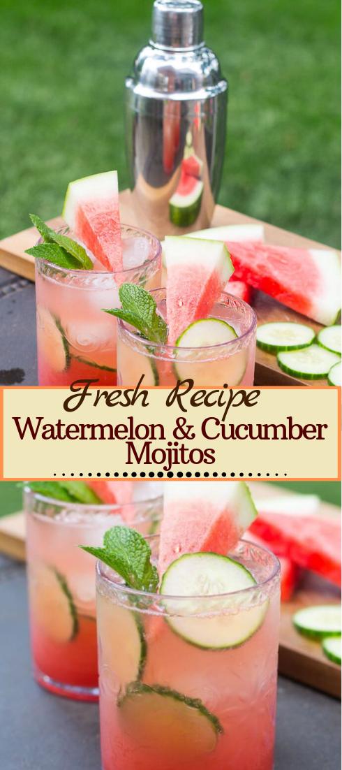 Watermelon & Cucumber Mojitos  #healthydrink #easyrecipe #cocktail #smoothie