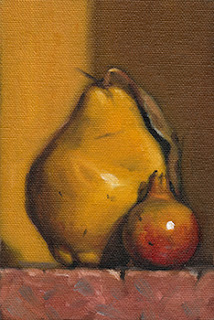 Still life oil painting of a quince beside a small pomegranate.