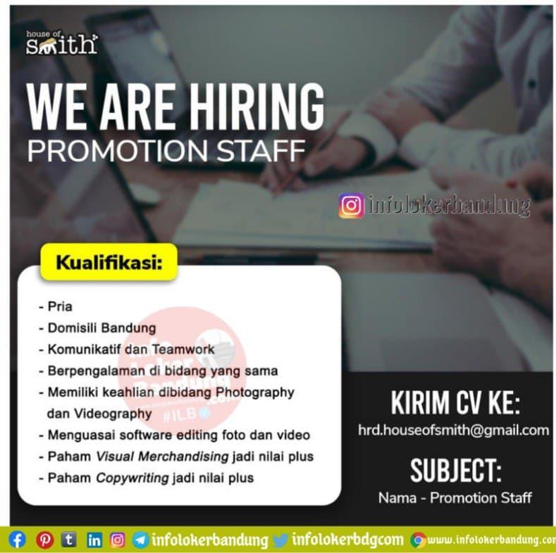 Lowongan Kerja Promotion Staff House of Smith Bandung Juni 2021
