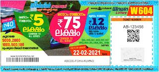 Kerala Lottery Results 22-02-2021 Win Win W-604 Lottery Result