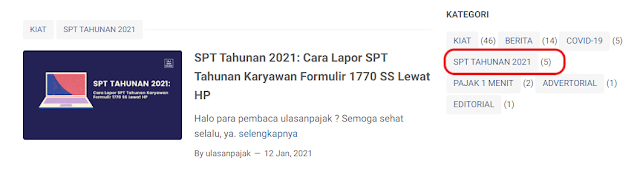 Kategori SPT Tahunan 2021