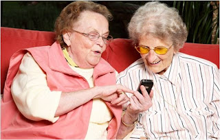 Funny Image Old People Mobilel Phone Texting SMS Joke