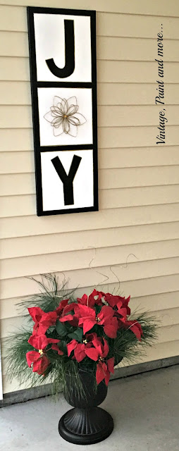 Vintage, Paint and more... canvas picture repurposed into a joy sign with paint