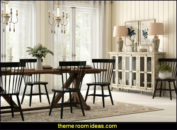 farmhouse dining room furniture Black Spindle Windsor Back Side Chair