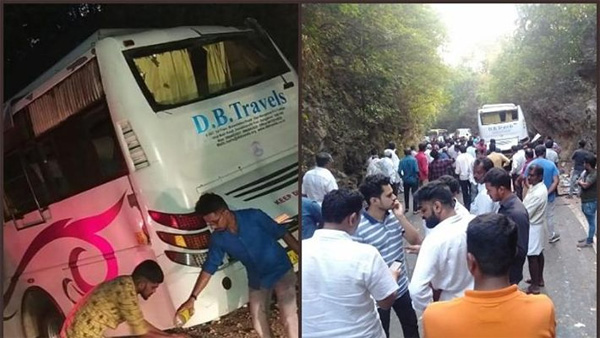 Ghastly accident at Karkala: At least nine dead, many injured as tourist mini bus hits boulder, Mangalore, News, Local-News, Accidental Death, Injured, hospital, Treatment, bus, Passengers, National