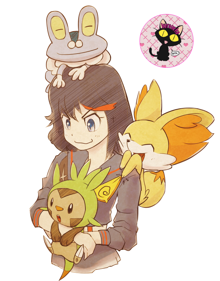 Ryuko Matoi, Chespin, Fennekin, Froakie.
