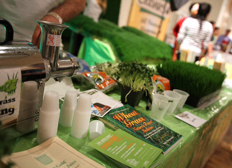 Veganreise New York NY Vegetarian Food Festival Wheatgrass Shot Sunflower Sprouts