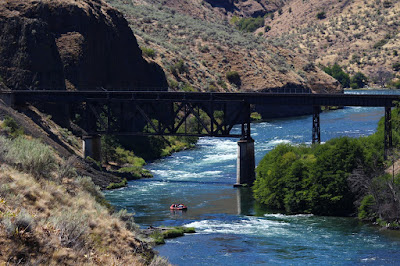 Train trestle bridge on lower Deschutes River north of Maupin, Oregon