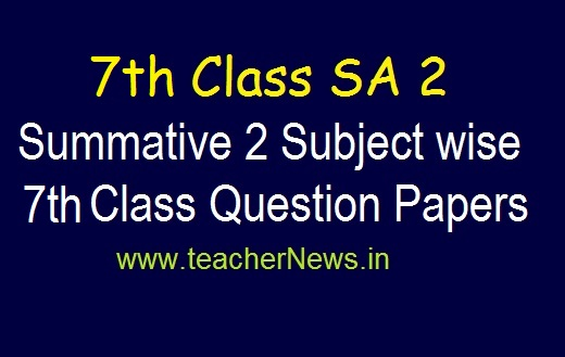 7th SA 2 Exam Model Question Papers 2019 | AP 7th Class Summative 2 Subject Questions pdf