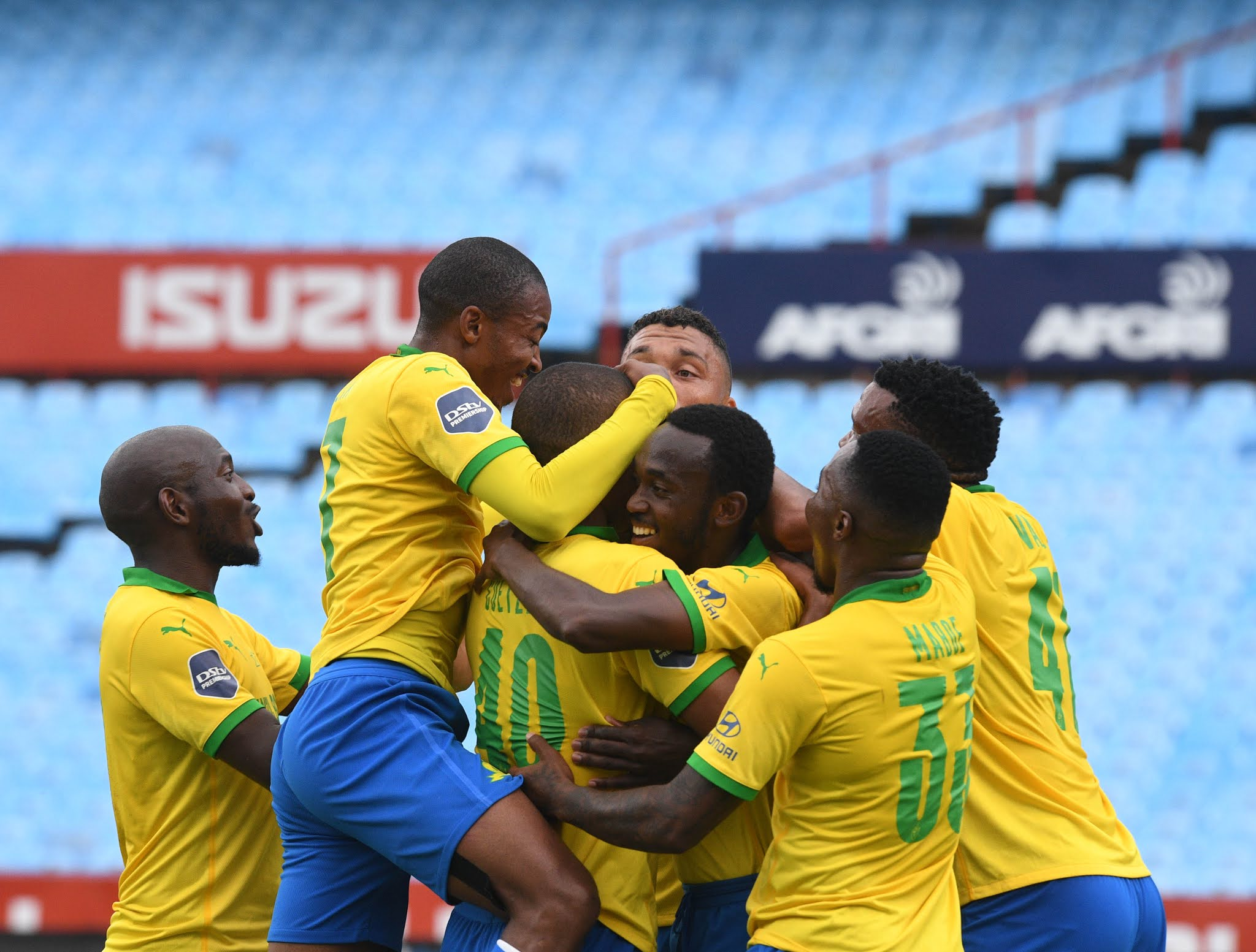 Mamelodi Sundowns celebrate their win over Orlando Pirates