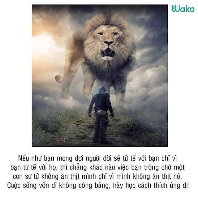 HÃY NHỚ: Nếu như bạn mong đợi người đời sẽ tử tế với bạn chỉ vì bạn tử tế với họ, thì cũng giống như việc bạn trông chờ một con sư tử không ăn thịt mình chỉ vì mình không ăn thịt nó. Cuộc sống vốn dĩ không công bằng, hãy học cách thích ứng đi.