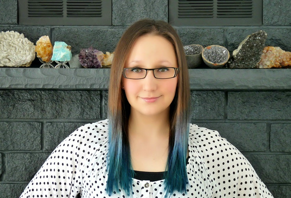 Blue ombre dyed rainbow hair