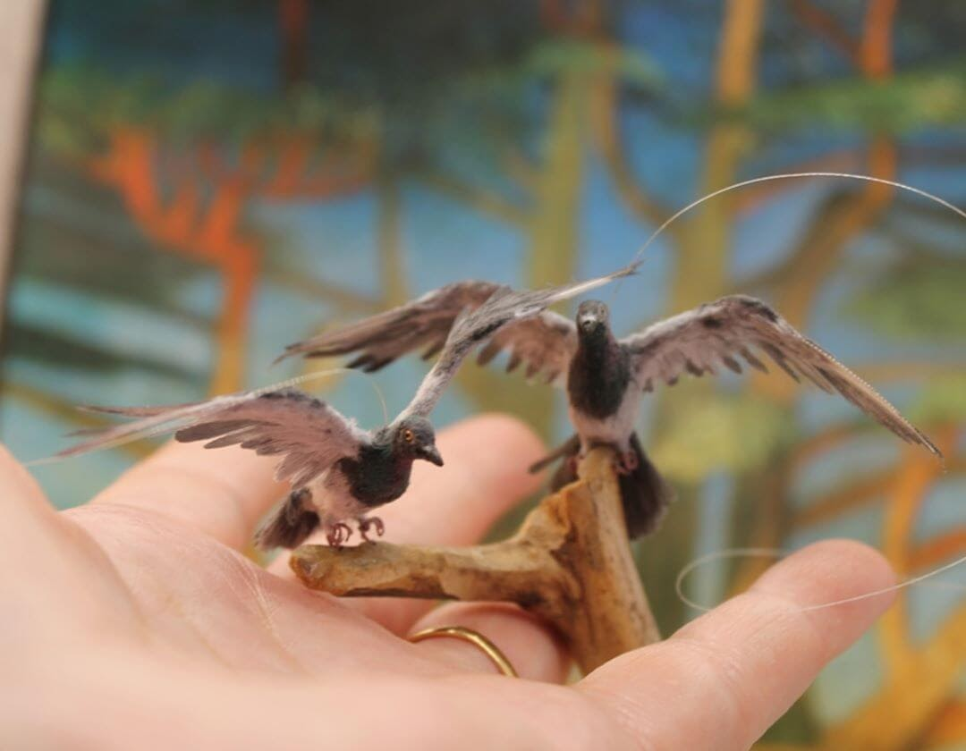 14-Pigeons-Katie-Doka-Hand-Sculpted-Dollhouse-Miniature-Animals-www-designstack-co