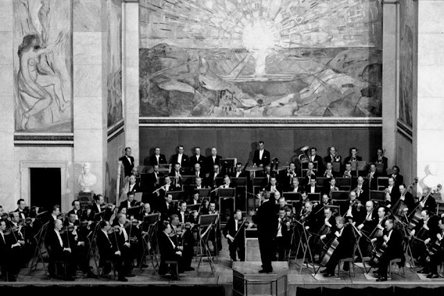 The Oslo Philharmonic Orchestra performing in Oslo University's Aula in the 1950s