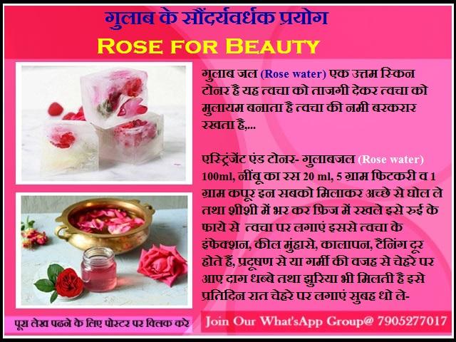 गुलाब के सौंदर्यवर्धक प्रयोग