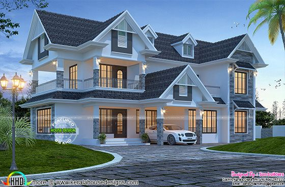 Awesome western style 2600 sq ft home kerala home design for Western home design