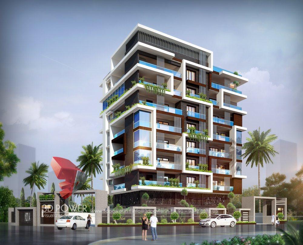 Corporate building design 3d rendering apartment for 3d apartment design