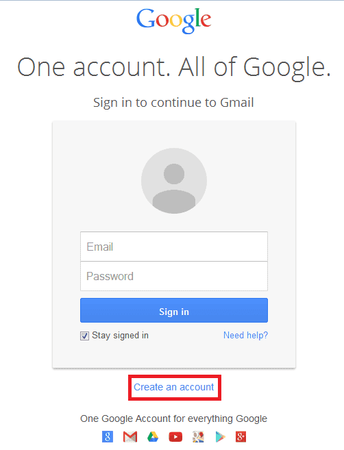 Halaman login google