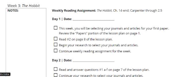 SchoolhouseTeachers.com Lesson Plan week 3 for Tolkien