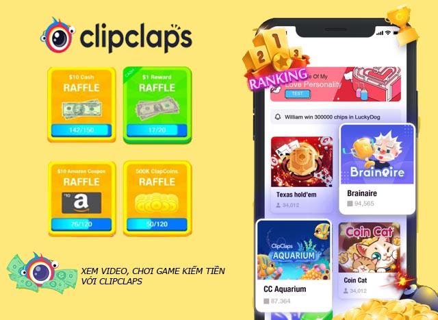 Ứng dụng chơi game kiếm tiền ClipClaps