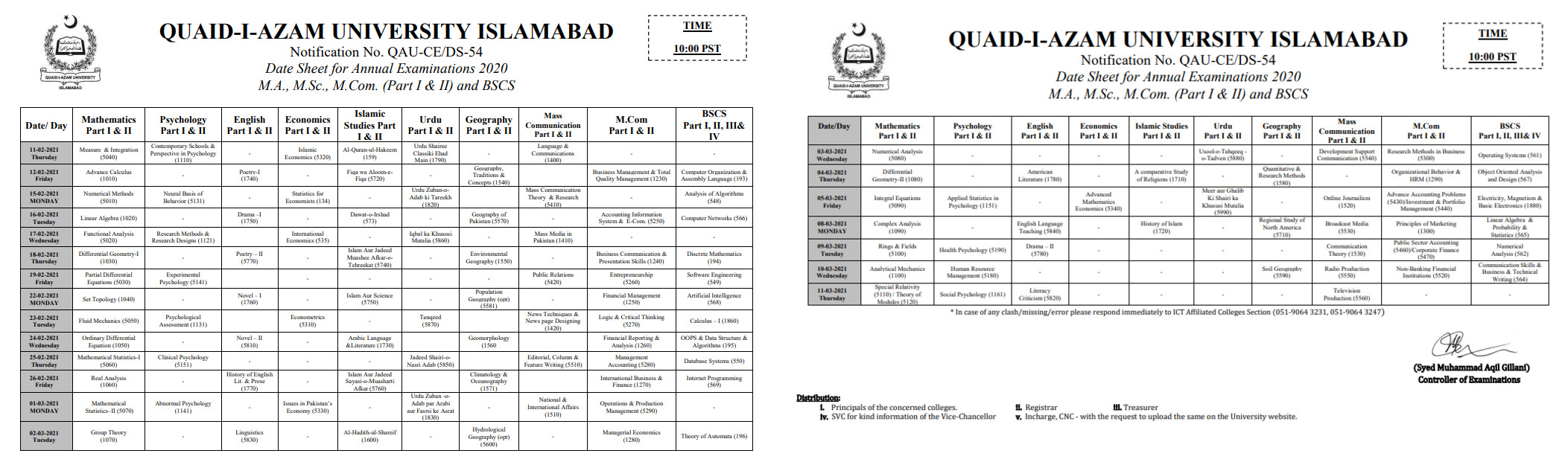 Quaid-i-Azam University Date Sheet MA MSc 2021