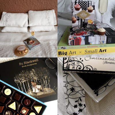 Collage of four photos of a bed with books, boxes of chocolates and (in two cases) glasses of sparking wine.