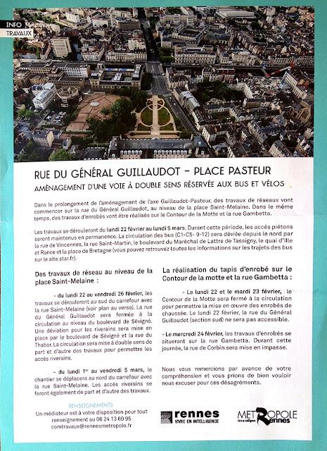Aménagement d'une voie à double sens réservée aux bus et aux vélos - Rue du Général Guillaudot - Place Pasteur - Rennes - Informations officielles - Février 2021