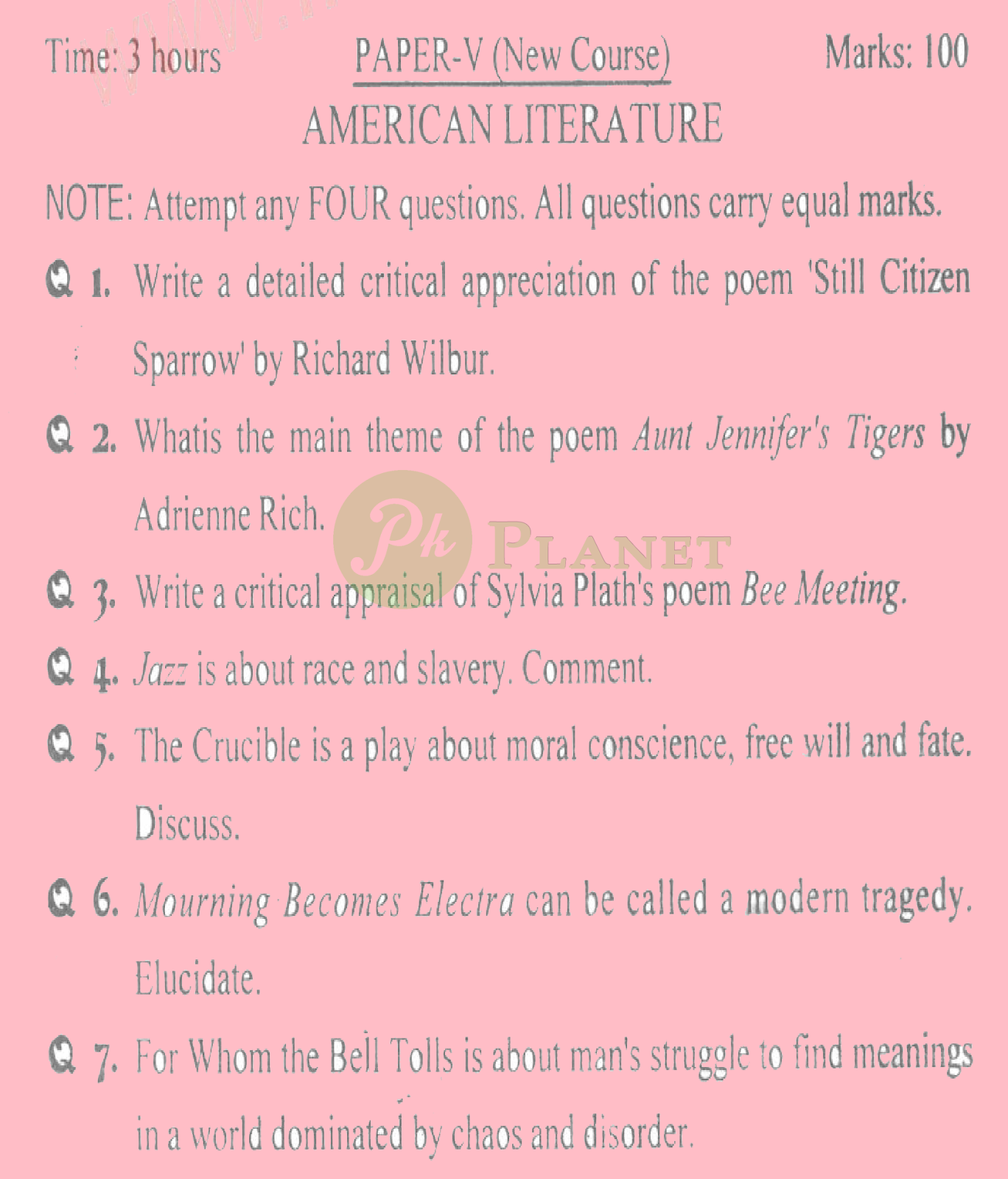 ma english part 1 past papers punjab university 2015 American literature