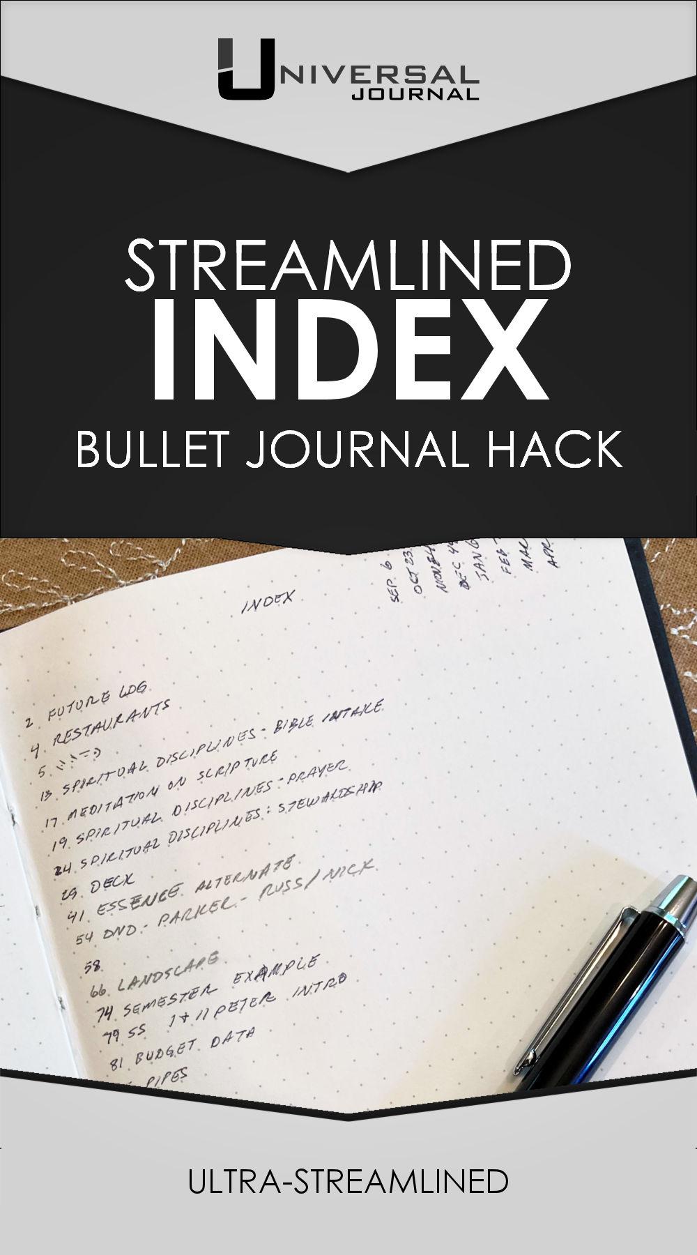 Universal Journal Index Streamlined