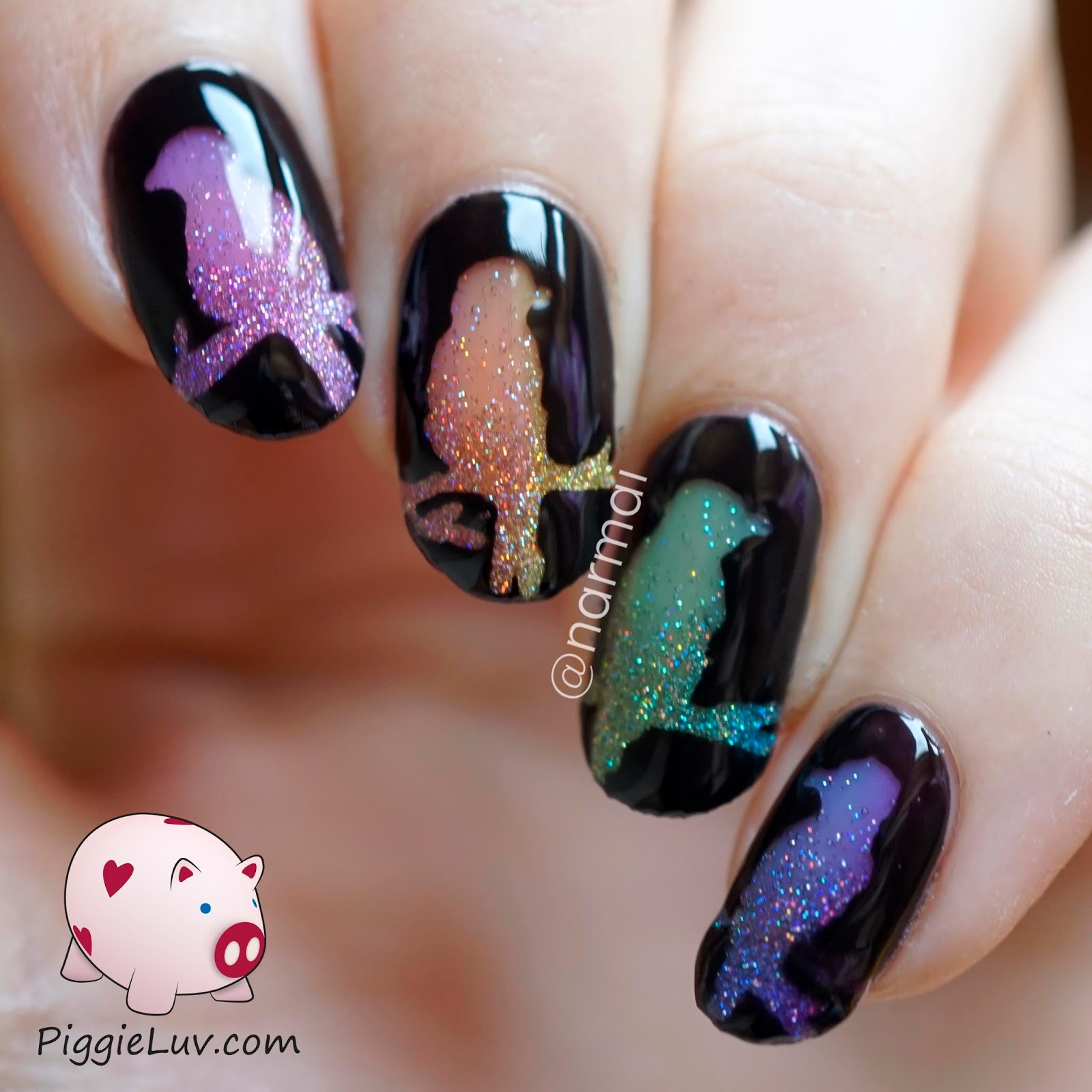 PiggieLuv: Glitter rainbow birds nail art