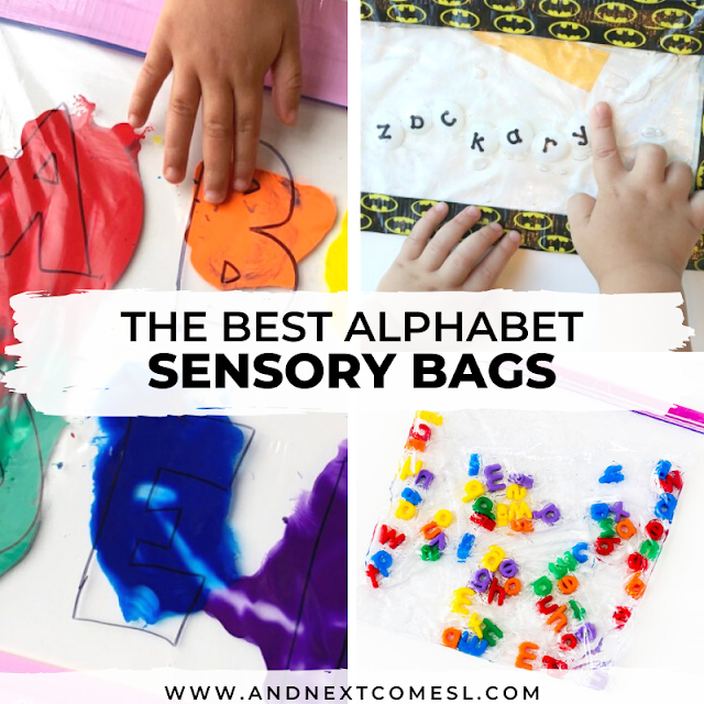 Sensory bag ideas for babies, toddlers, and preschoolers that are ABC/alphabet themed