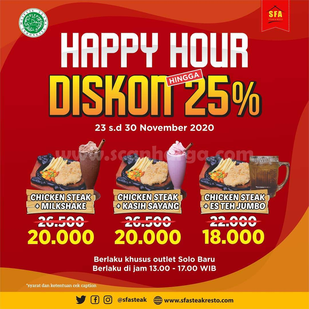 SFA Steak & Resto Promo Happy Hour Diskon hingga 25%