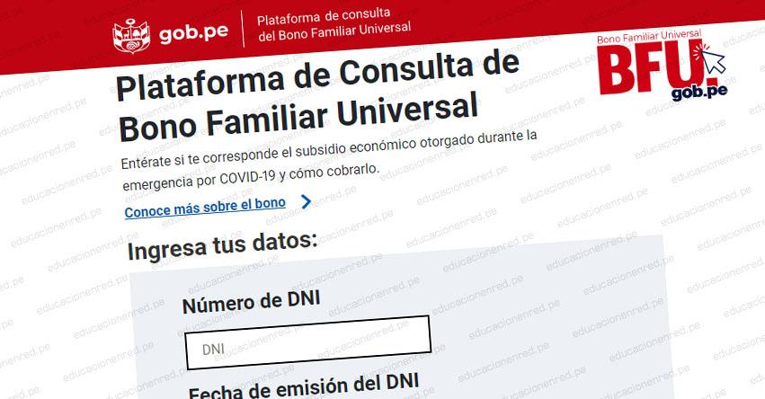 WWW.BFU.GOB.PE » Ingresa tu DNI para saber si eres beneficiario del Bono Familiar Universal de S/ 760